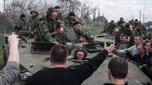 Начало АТО. Безоружные жители Донбасса останавливают ВСУ