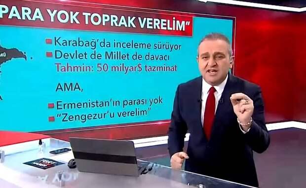 Турецкое ТВ – армянам: «Либо 50 млрд долларов, либо отдавайте земли Азербайджану»